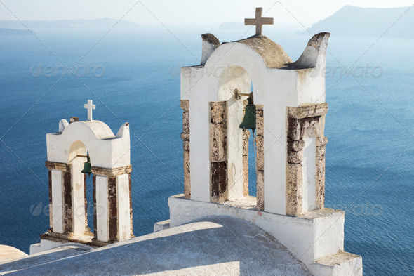 Small belltowers in Oia - Stock Photo - Images