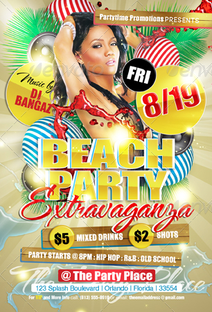 Beach Party Extravaganza Flyer Template By Creativb  Graphicriver