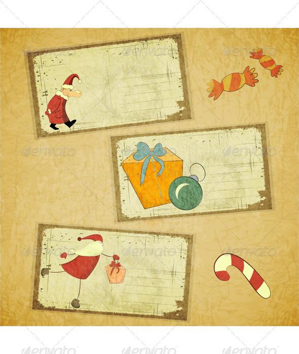 Set of Retro Christmas Cards - Christmas Seasons/Holidays