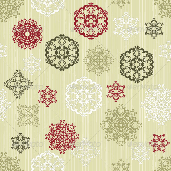 Vector Seamless Pattern with  Paper Cut Snowflakes - Patterns Decorative