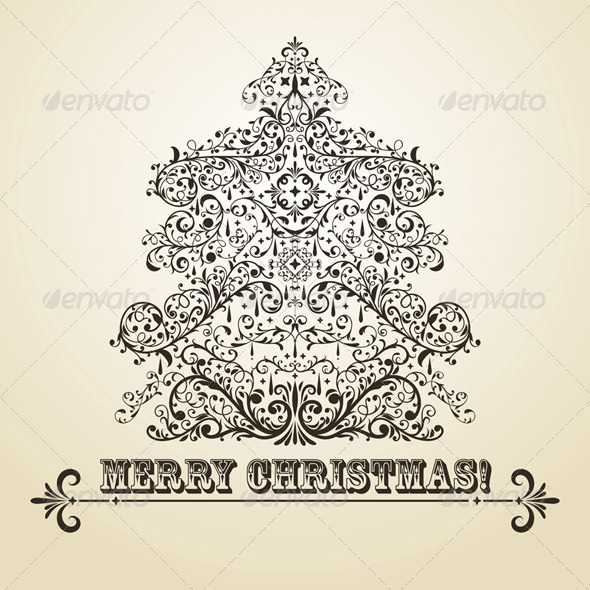 Vector Vintage Christmas Greeting Card with Fir Tr - Christmas Seasons/Holidays