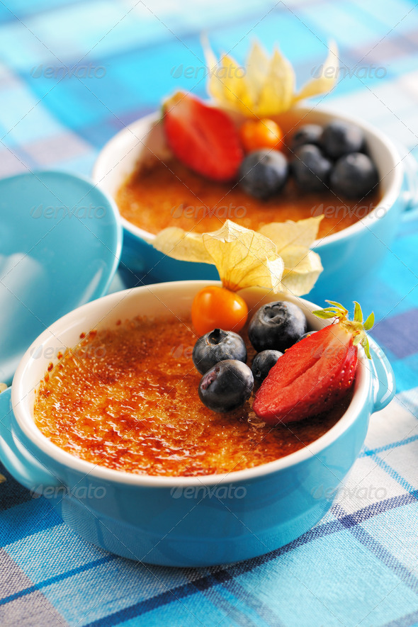 Creme brulee (cream brulee, burnt cream) - Stock Photo - Images