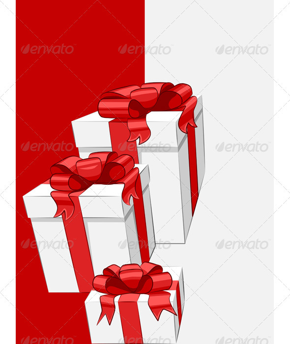 Vector White Gift Box with Red Ribbon Bow - Seasons/Holidays Conceptual