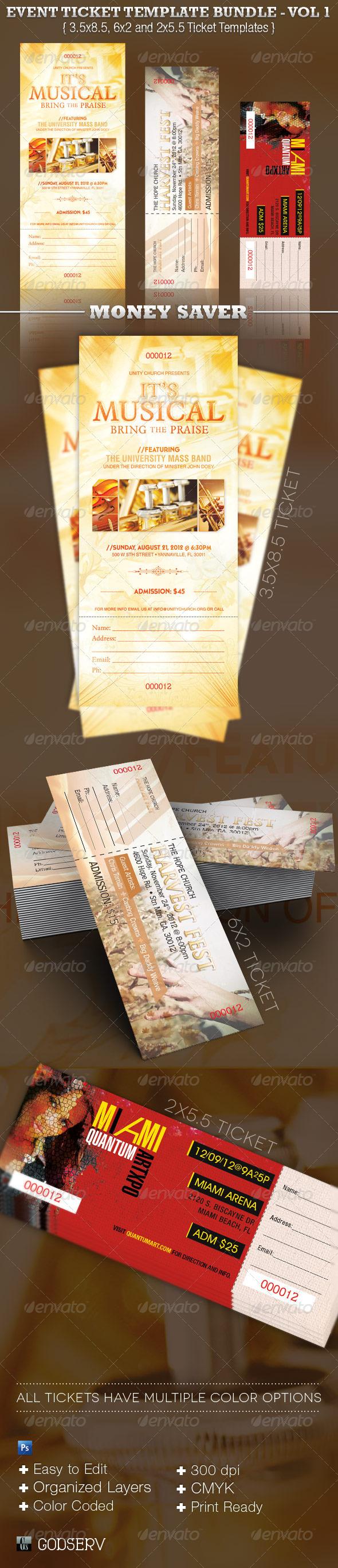 Event Ticket Template Bundle Vol 1 - Miscellaneous Print Templates