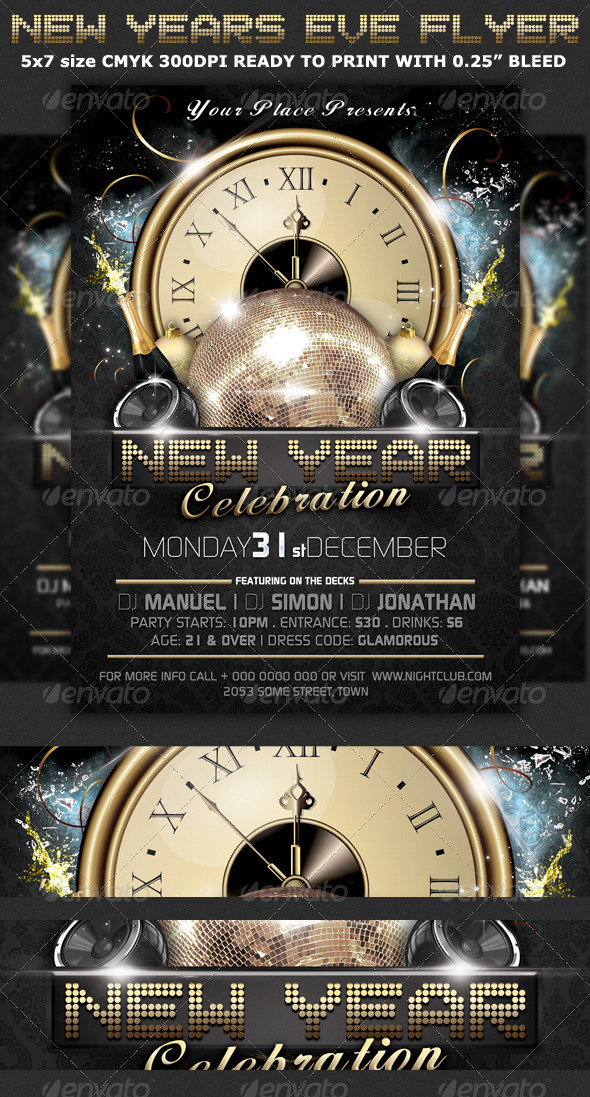 New Years Eve Party Flyer Template By Hotpin | Graphicriver