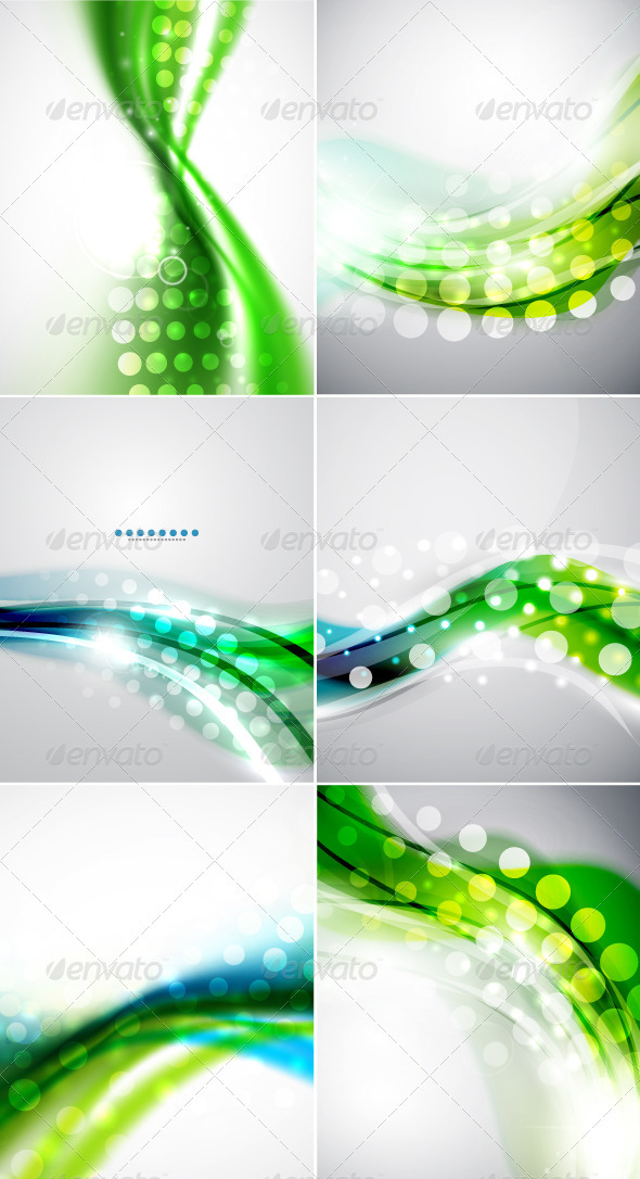 Shiny Green Wave Vector Backgrounds - Backgrounds Decorative