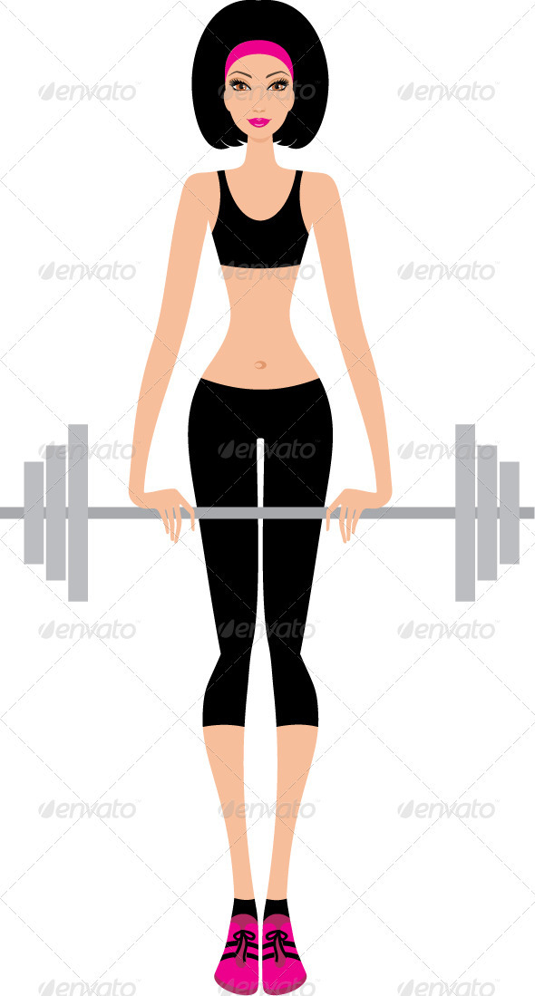 Woman with a fitbar - People Characters