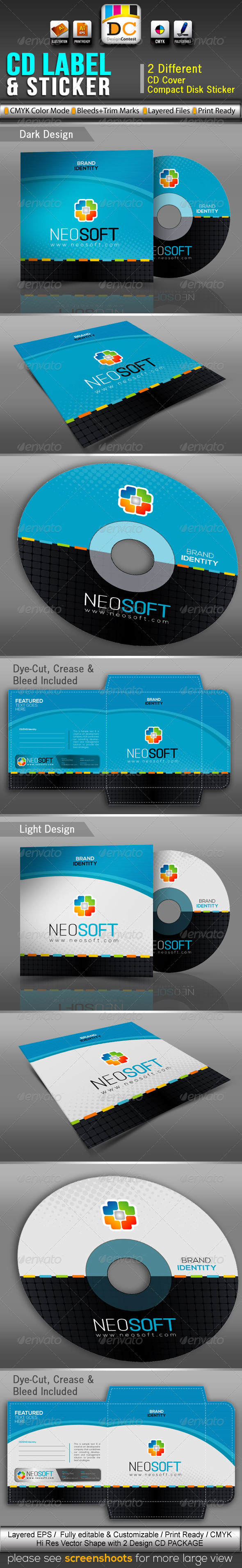 NeoSoft_CD Sleeve/Label & Sticker  - Packaging Print Templates