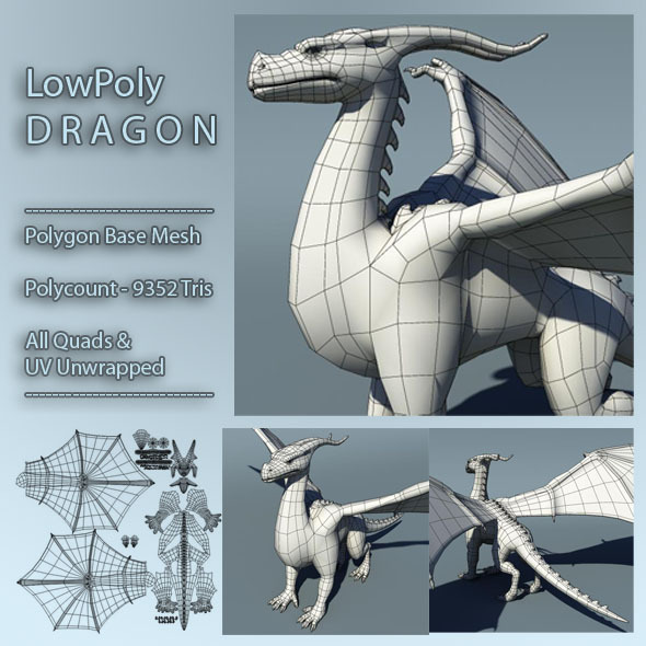 Dragon Low Poly Base Mesh - 3DOcean Item for Sale