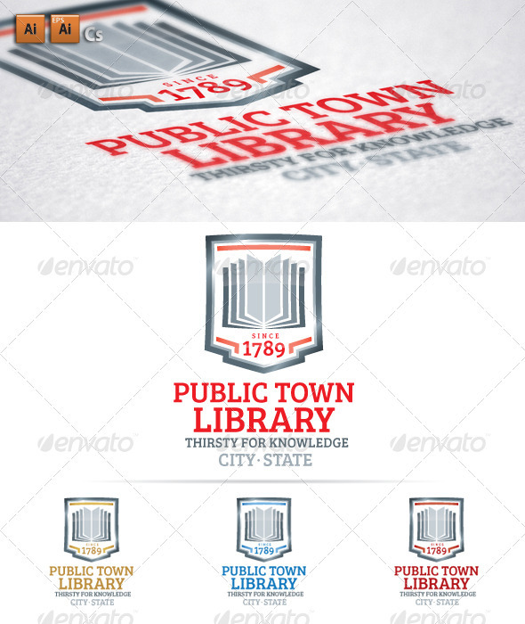 Public Town Library - Crests Logo Templates