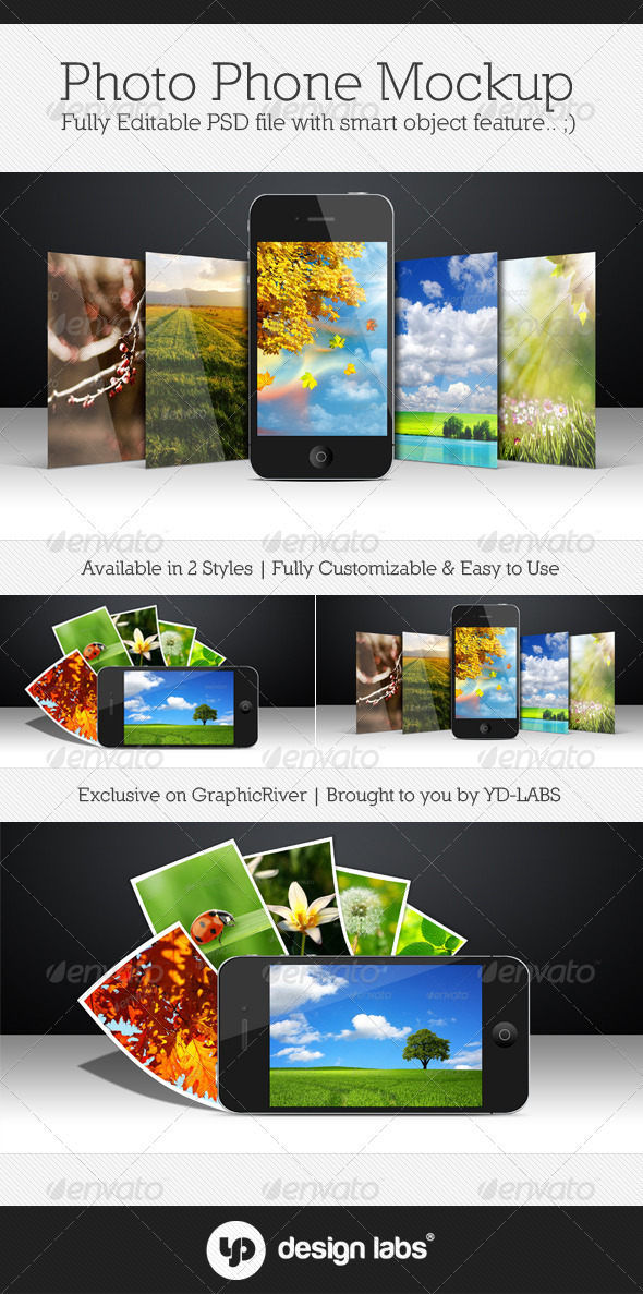 Photo Phone Mockup - Mobile Displays