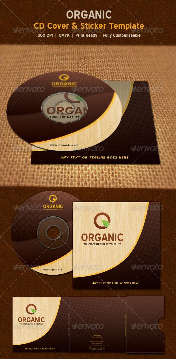Organic Nature CD Sticker & Package Template - CD & DVD Artwork Print Templates
