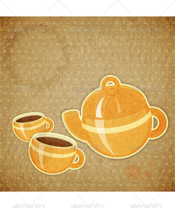 Two Coffee Cups and Coffee Pot - Food Objects