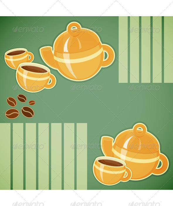Coffee Cup and Coffee Pot - Food Objects