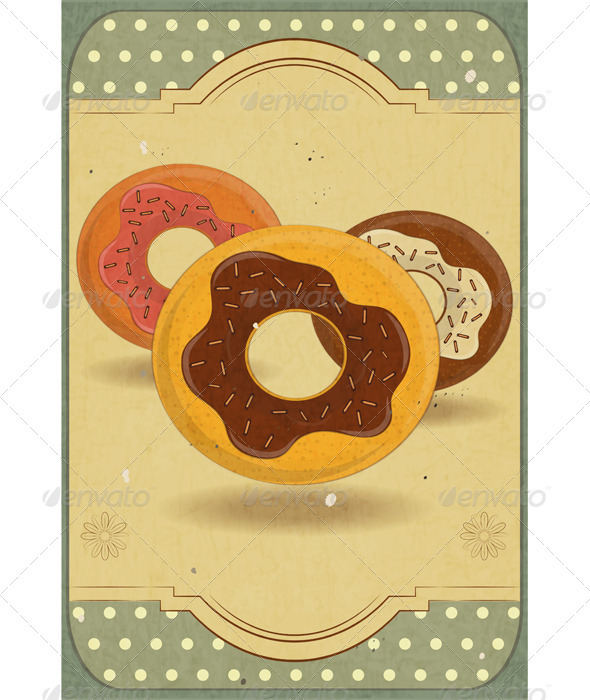 Donuts on Retro Card - Food Objects