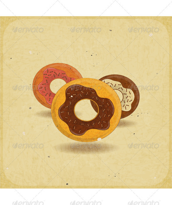 Donuts on Vintage Background - Food Objects