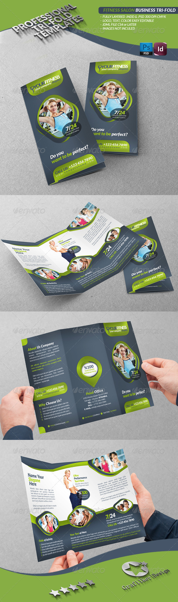 Fitness Salon Business Tri-Fold - Brochures Print Templates