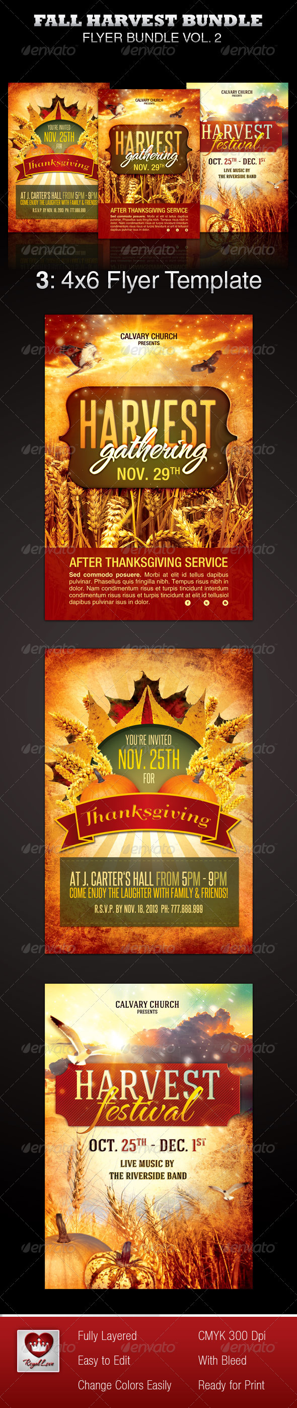 Fall Harvest Flyer Template Bundle - Church Flyers