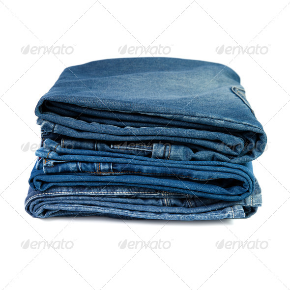 Jeans things stacked stack - Stock Photo - Images