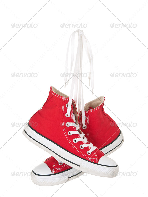 Vintage hanging red shoes - Stock Photo - Images