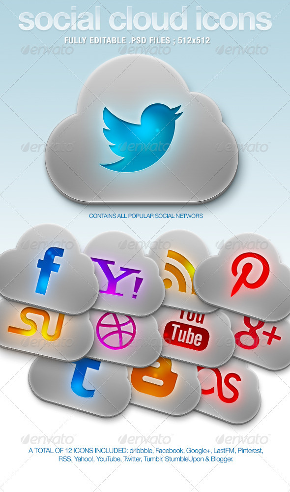 Social Cloud Icons - Web Icons