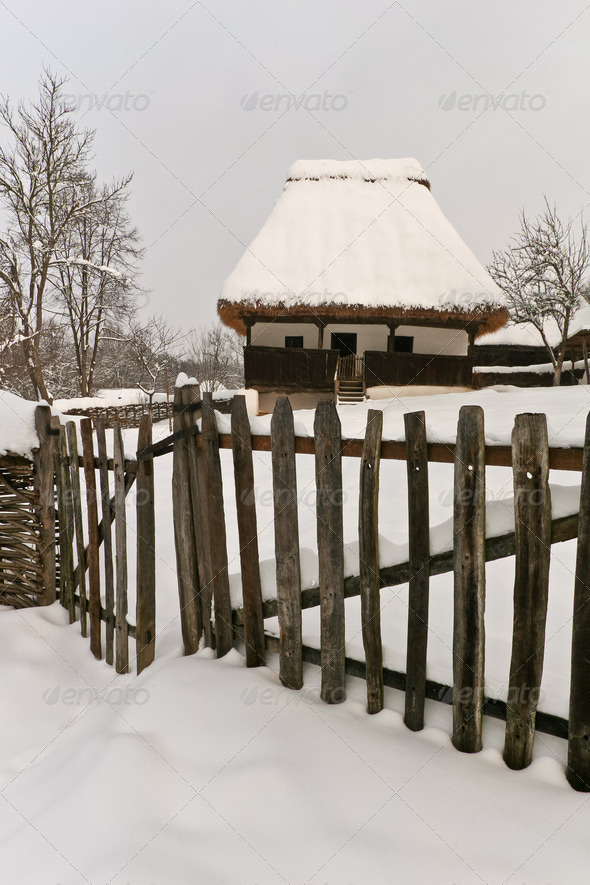 rustic house in winter - Stock Photo - Images
