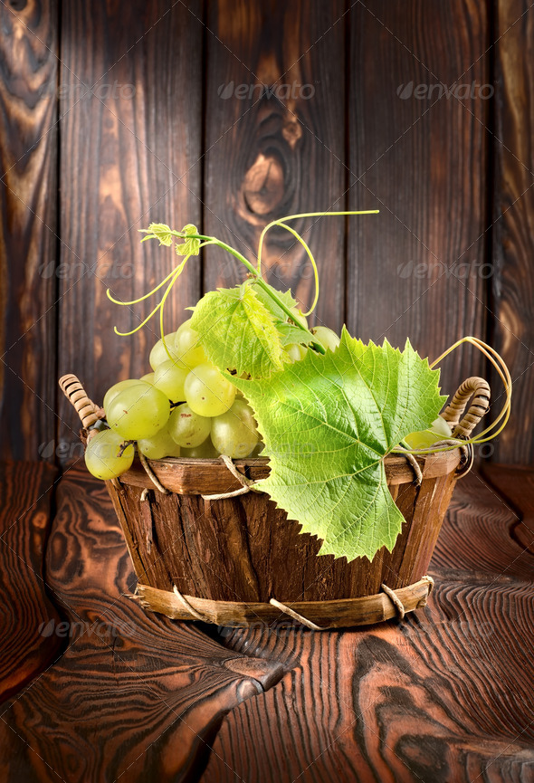 Grapes on a wooden background - Stock Photo - Images
