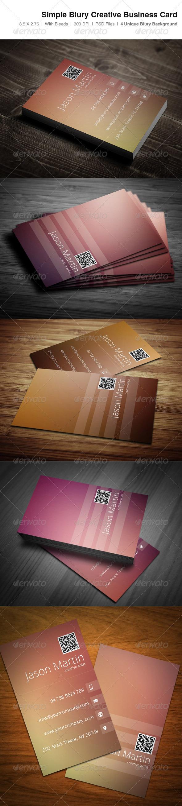 Simple Blury Creative Business Card - Creative Business Cards