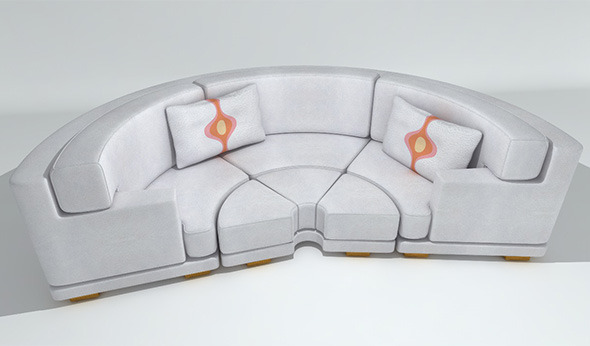 Circular Leather Sofa - 3DOcean Item for Sale