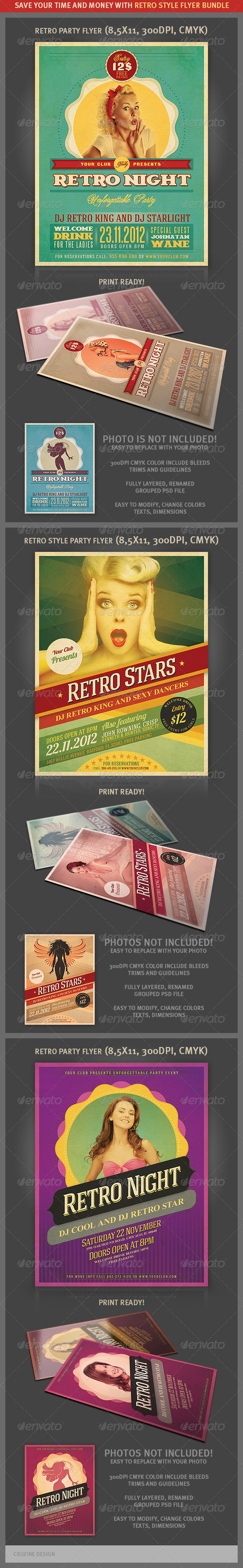 Retro Party Flyers Bundle - Clubs & Parties Events