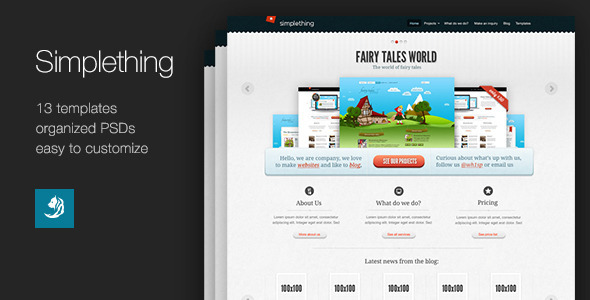 Simplething – a clean PSD template