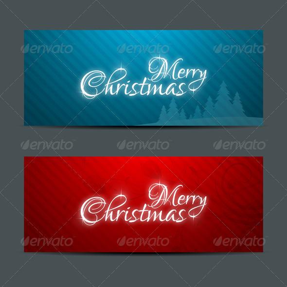 Merry Christmas Banners Set Design - Christmas Seasons/Holidays