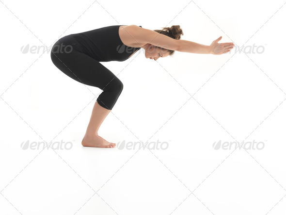 beginner yoga pose demonstration - Stock Photo - Images