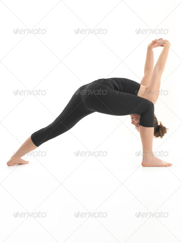 advanced stretching yoga pose - Stock Photo - Images