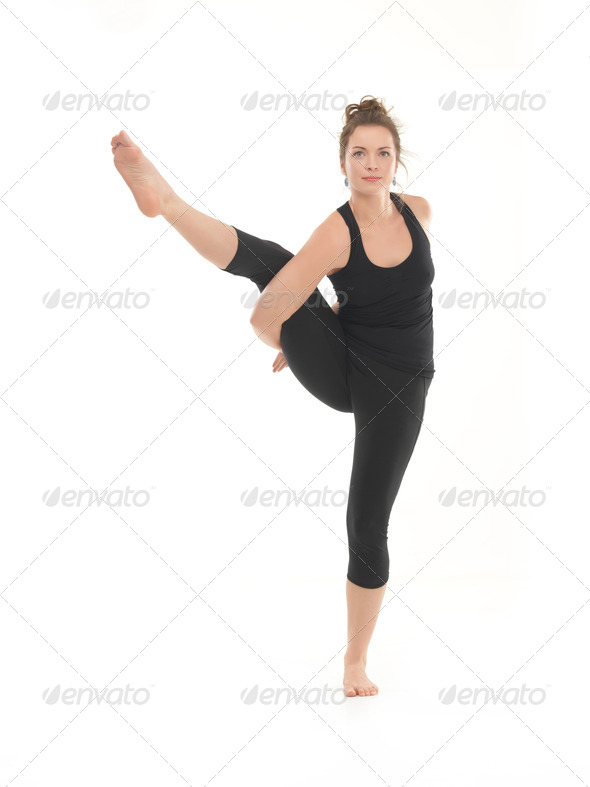 demonstration of advanced yoga pose - Stock Photo - Images