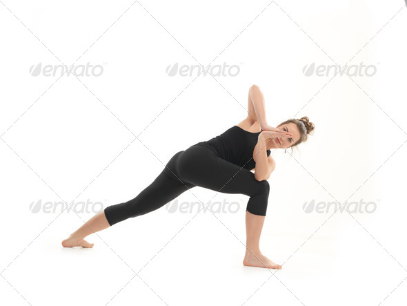 difficult yoga pose demo - Stock Photo - Images