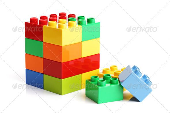Building blocks on a white background - Stock Photo - Images