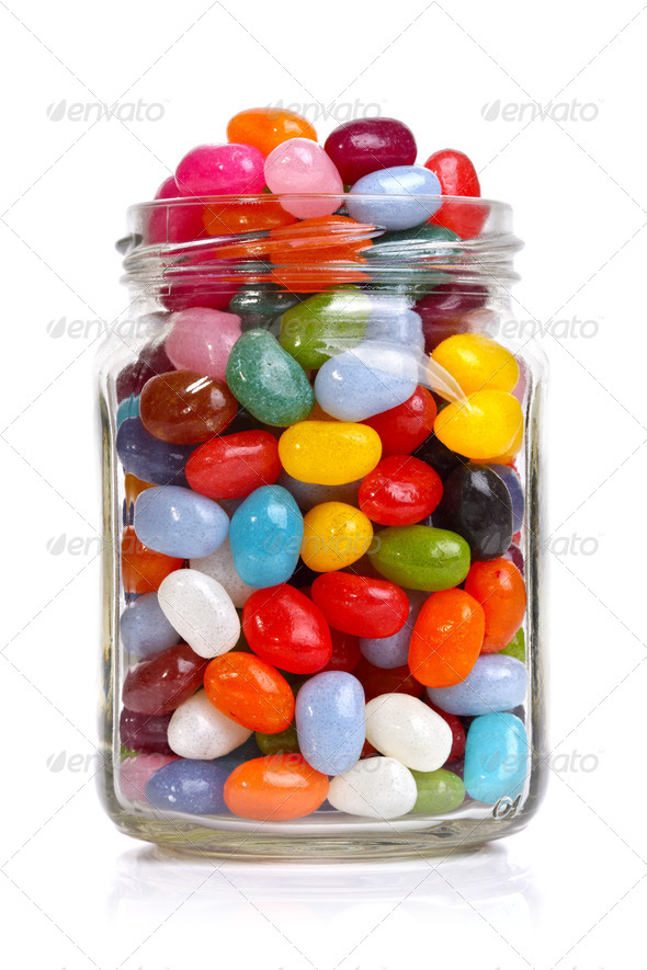 Jellybeans in a jar - Stock Photo - Images