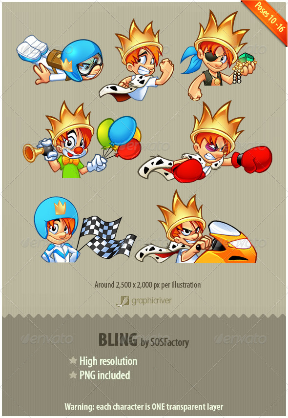 Bling Series 10-16: mascot design - Characters Illustrations