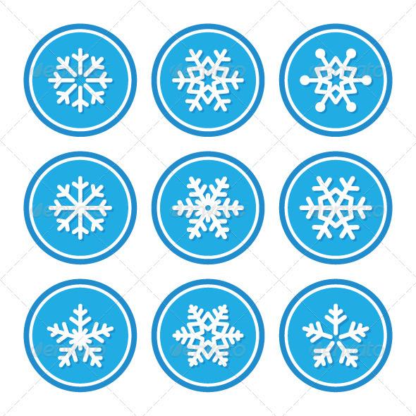 Snowflakes Icons as Retro Labels - Retro Technology