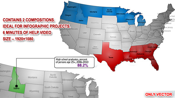 USA Map Kit By Sed VideoHive - Us map state highlighter
