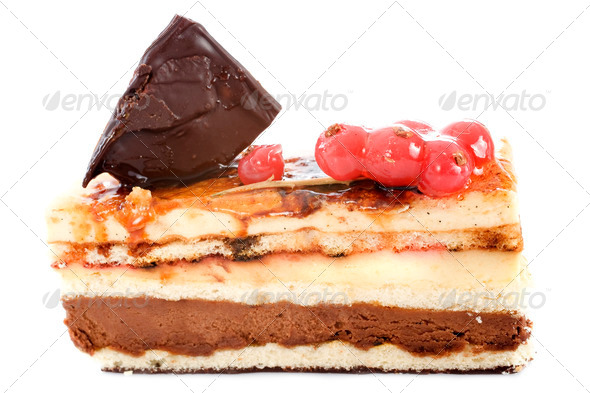 cream and chocolate cake - Stock Photo - Images
