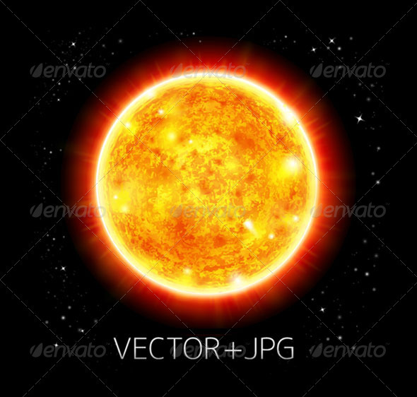 Sun in a space background - vector+jpg - Backgrounds Decorative
