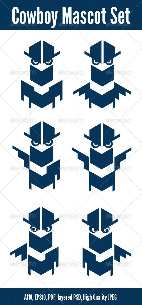 Cowboy Mascot Set - Characters Vectors