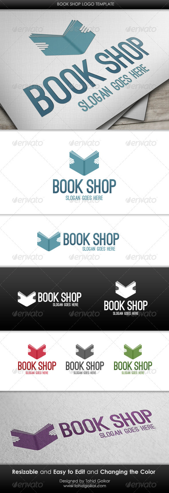 Book Shop Logo Template - Symbols Logo Templates