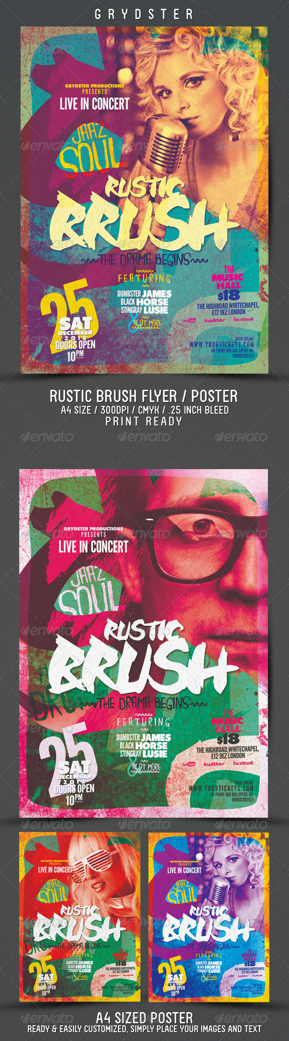 Rustic Brush Poster / Flyer - Concerts Events