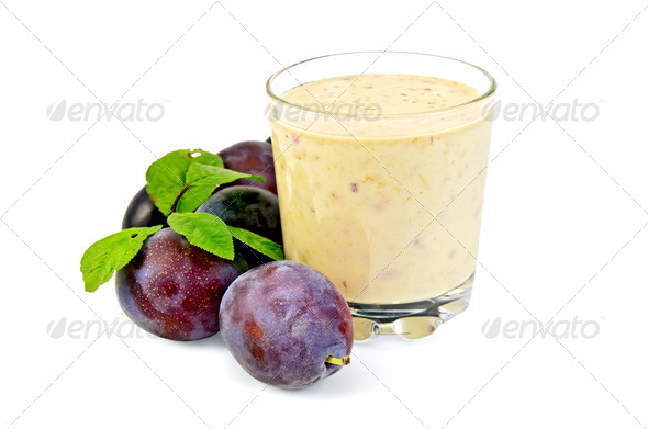 Milkshake with plums - Stock Photo - Images