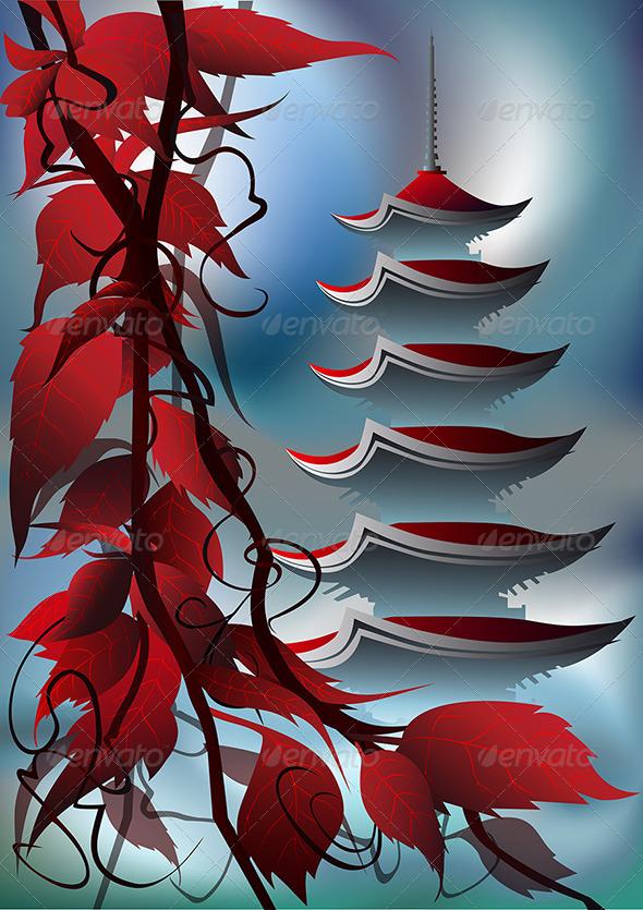 Sunrise Pagoda - Backgrounds Decorative