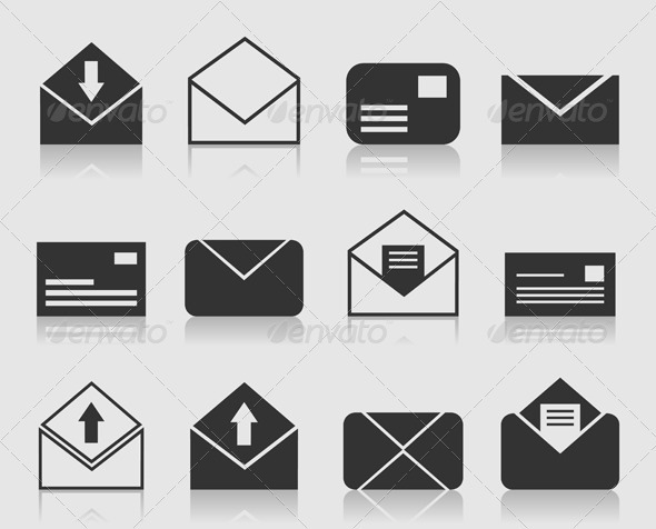 Mail and Letter Icons Set - Web Elements Vectors