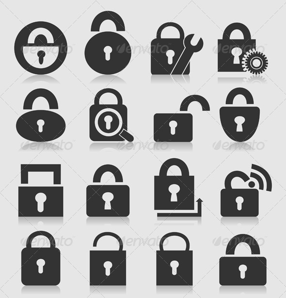 Locks Icon Set - Web Elements Vectors